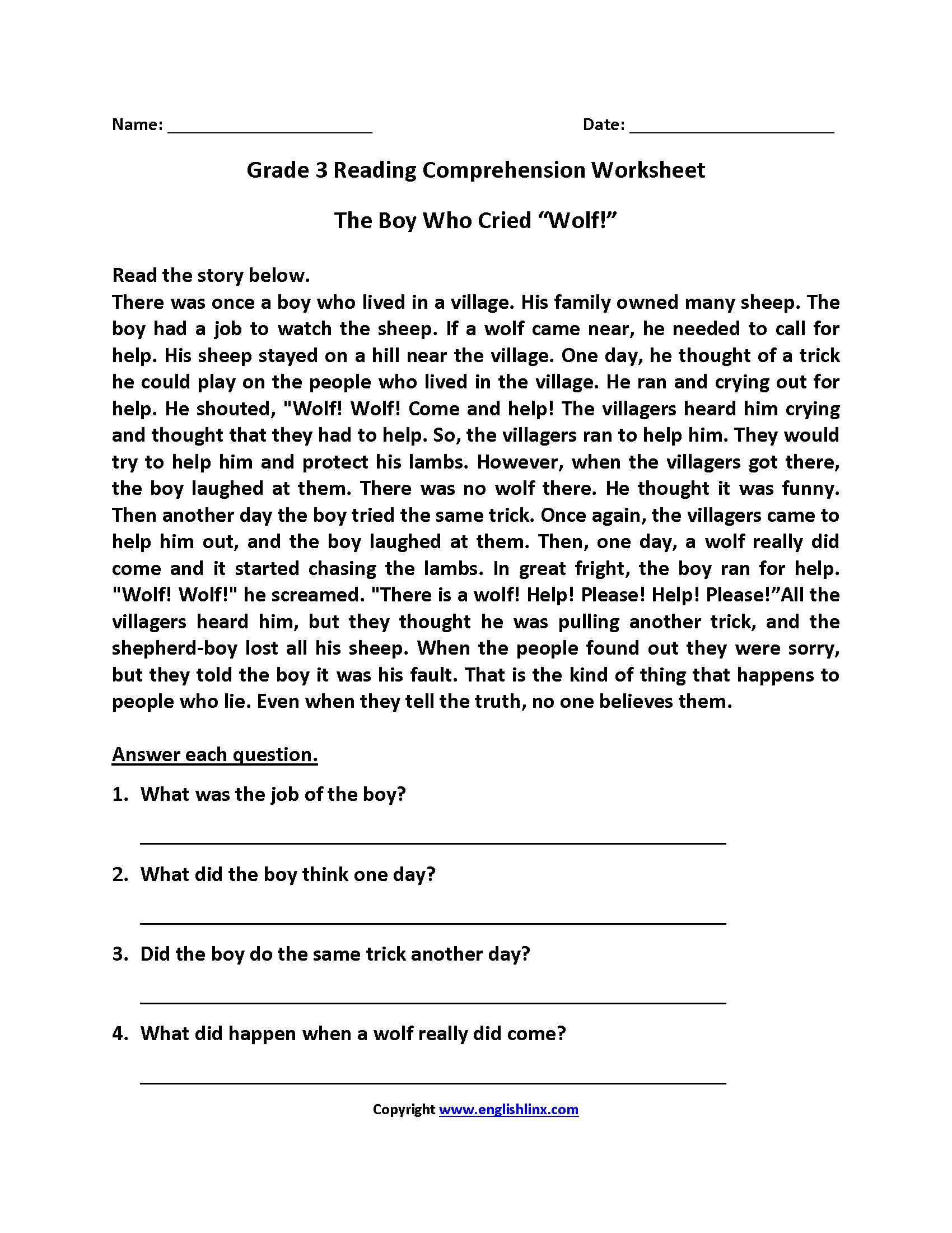 English Worksheets  Reading Worksheets Within Comprehension Worksheets For Grade 3