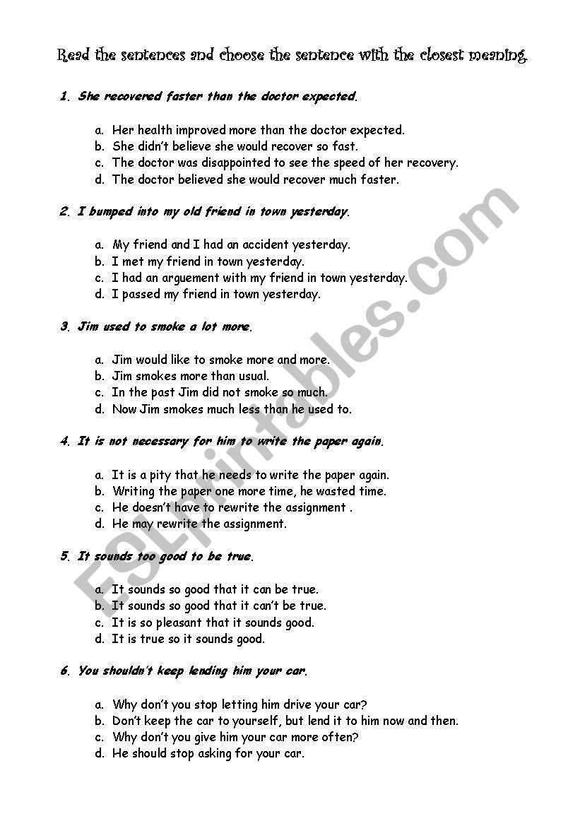 English Worksheets Restatement With Regard To Restating Sentences Worksheet