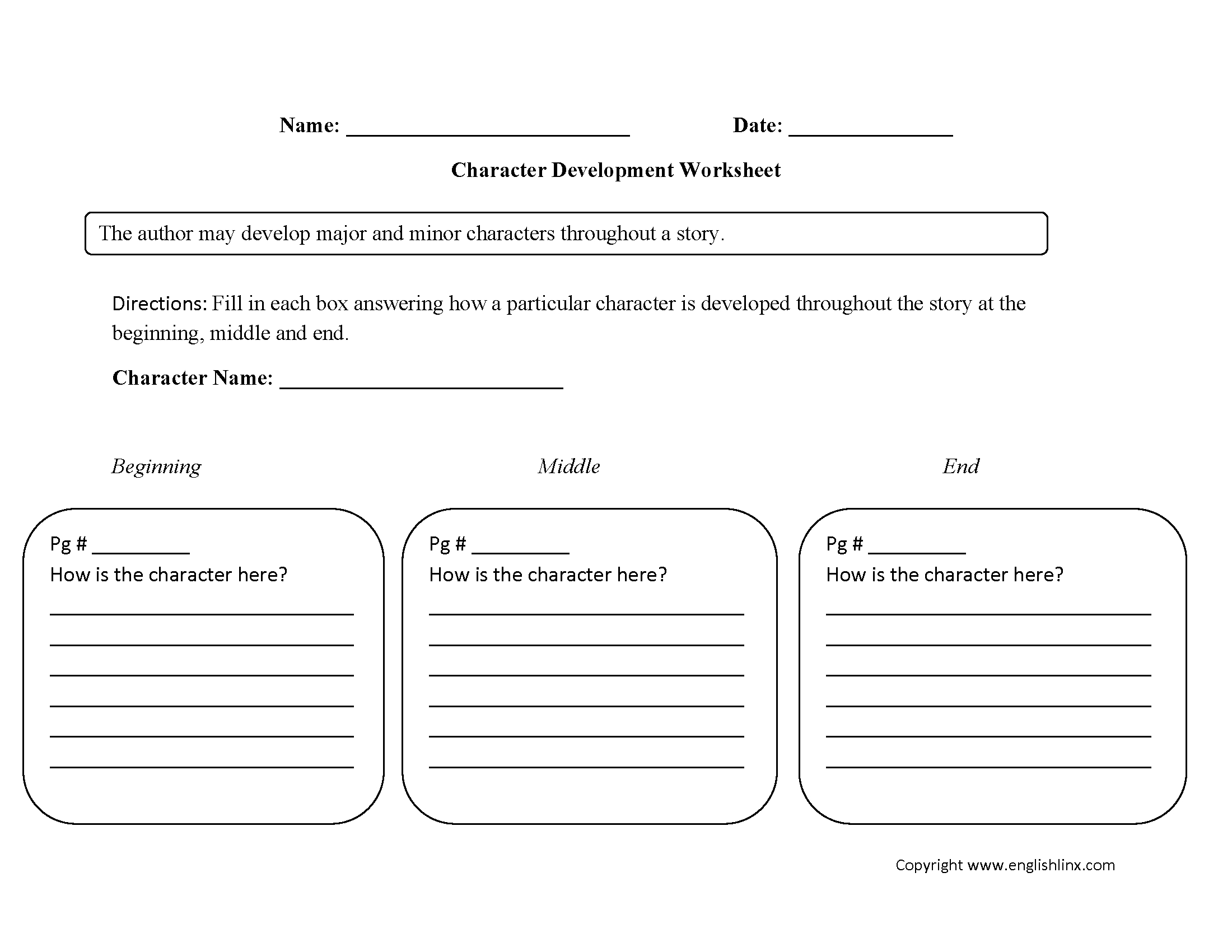 Englishlinx  Character Analysis Worksheets With Regard To Free Printable Character Education Worksheets Middle School
