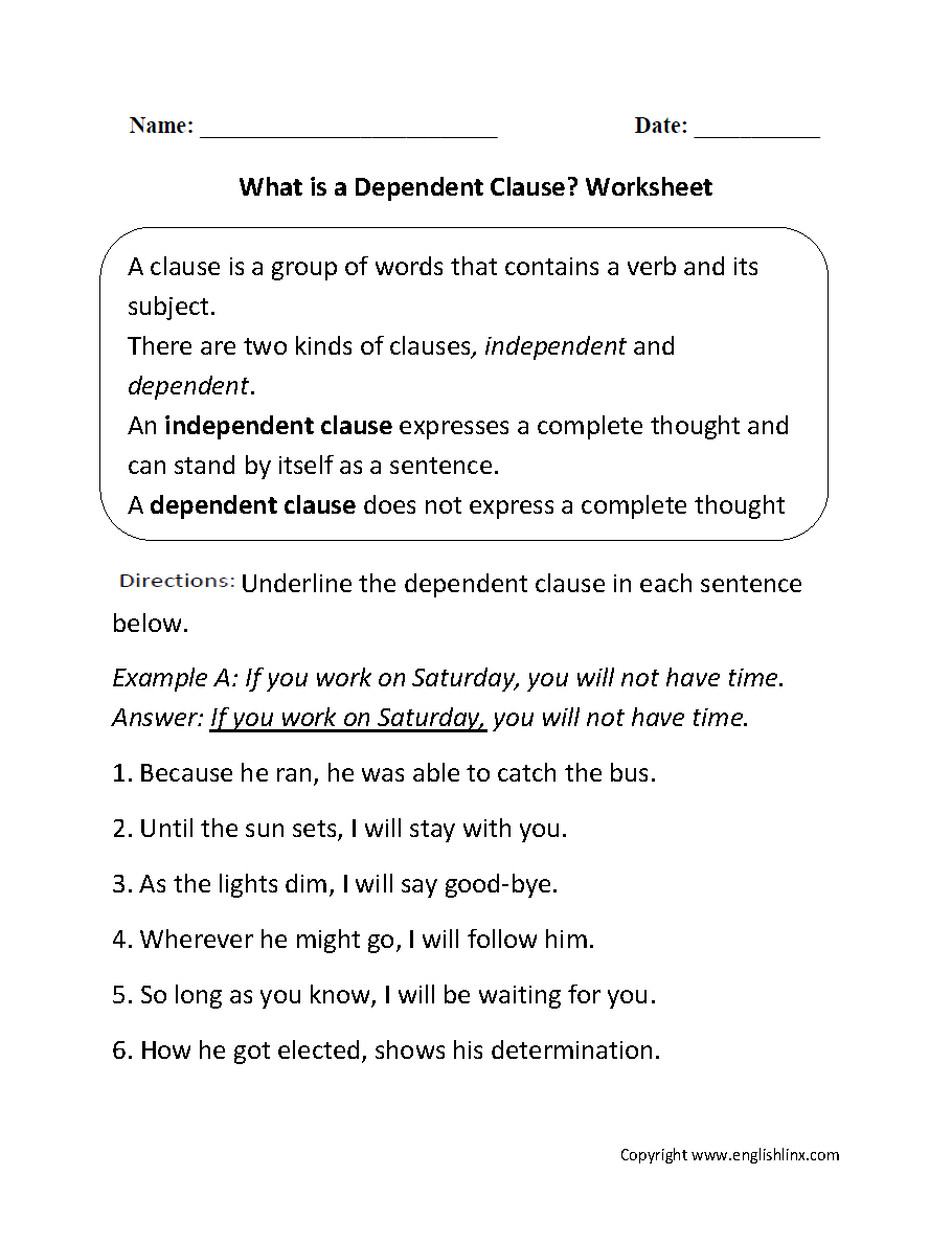 Englishlinx  Clauses Worksheets Within Independent And Dependent Clauses Worksheet