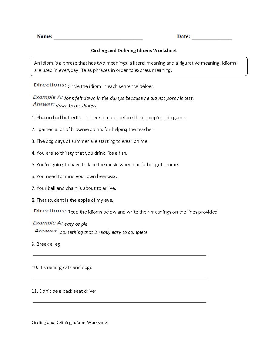 Englishlinx  Idioms Worksheets With Idioms Worksheets Pdf