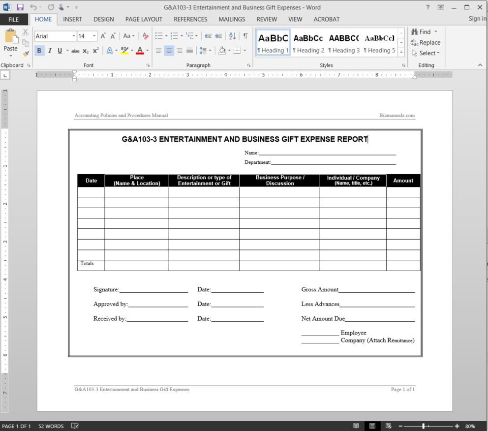 Entertainment Business Gift Expenses Report Template Also Business Expenses Template