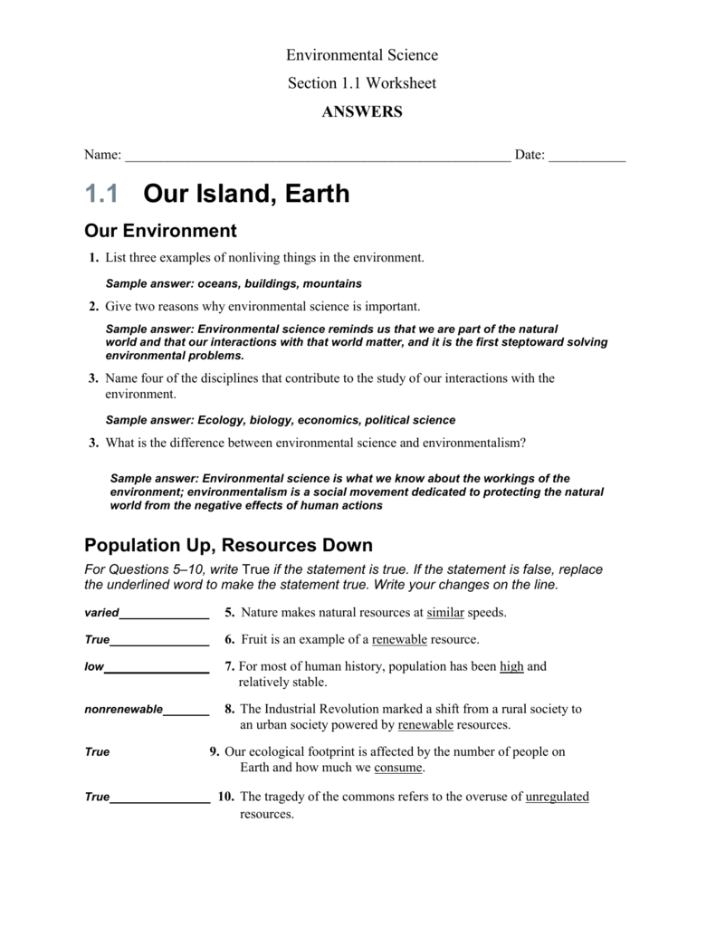 Environmental Science Also Environmental Science Worksheets And Resources Answers