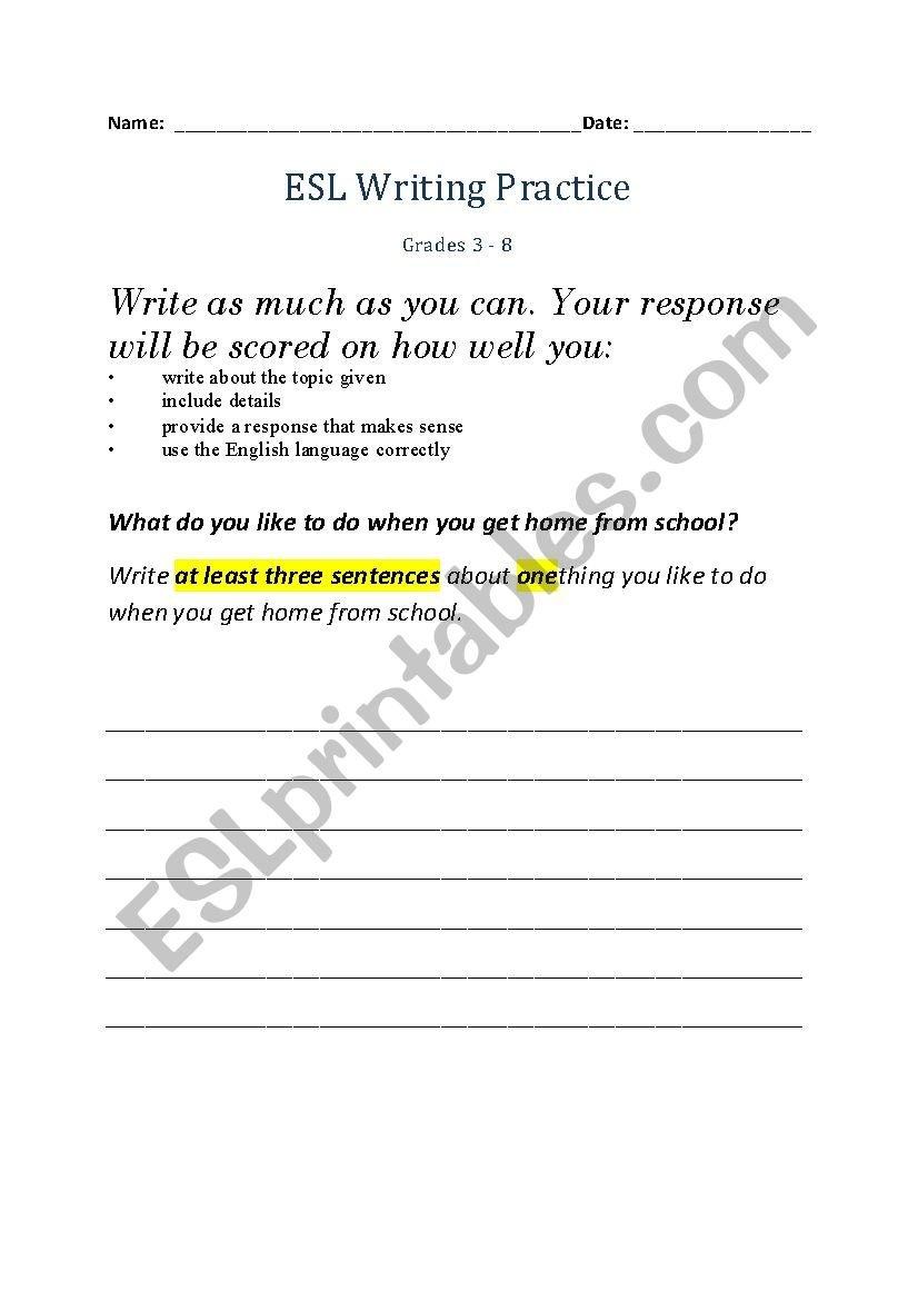 Esl Writing Practice  Esl Worksheetnduet And Esl Handwriting Practice Worksheets