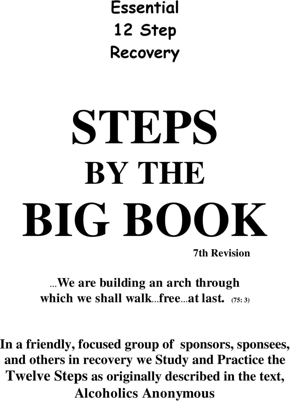 Essential 12 Step Recovery Stepsthe Big Book We Are Building An Inside Step 5 Aa Worksheet