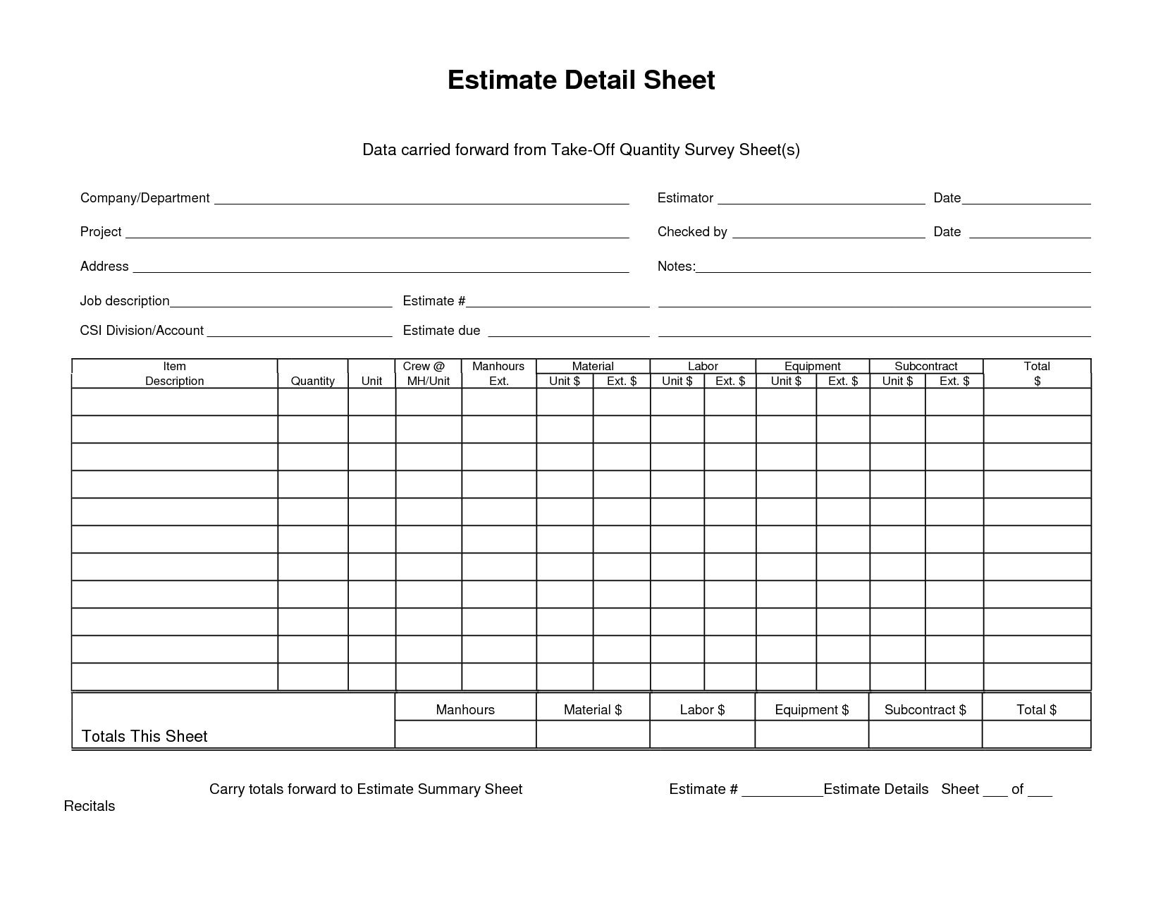 Estimate Detail Sheet Data Carried Forward From Quantity Takeoff With Quantity Takeoff Excel Spreadsheet