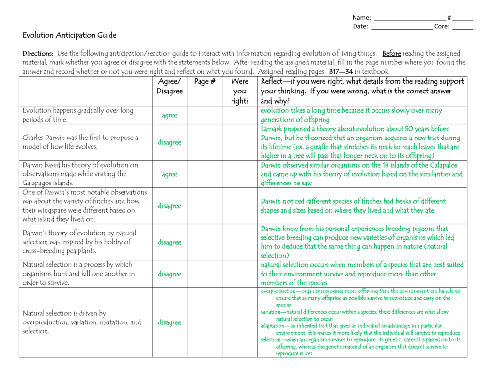 Evolution Anticipation Guide–Key With Regard To Anticipation Guide Worksheet Answers