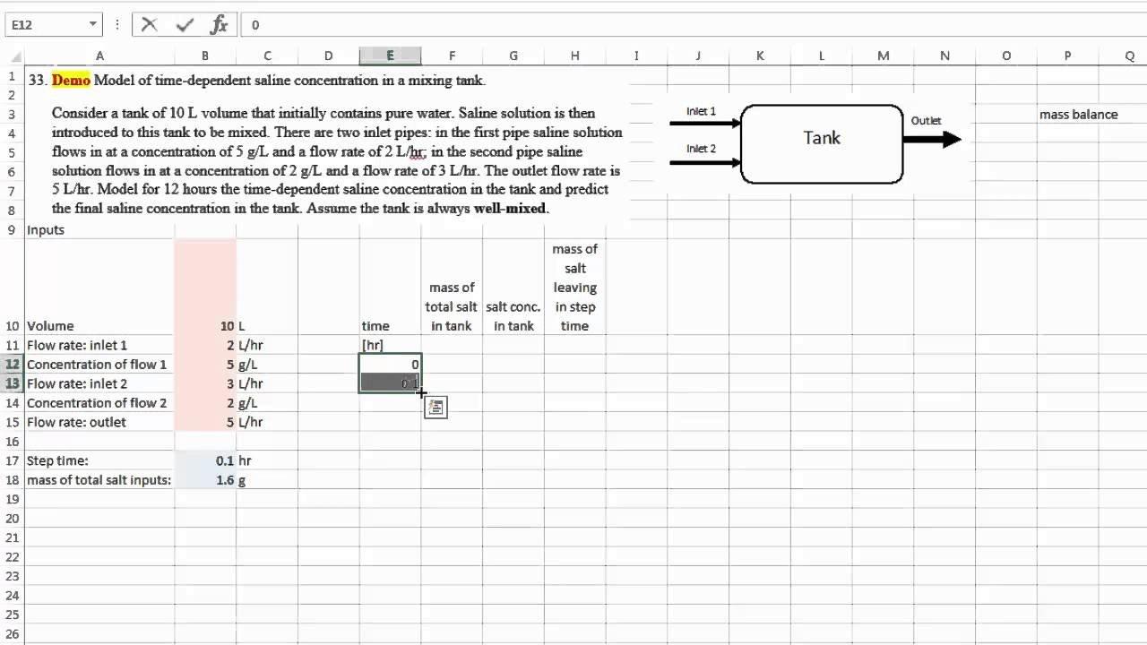 Excel 18 (Problem 33) Time Dependent Modeling Of A Mass Balance ... For Mass Balance Spreadsheet Template