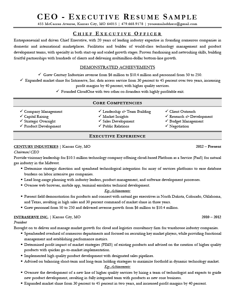 Executive Resume Examples  Writing Tips  Ceo Cio Cto And Resume Starter Worksheet