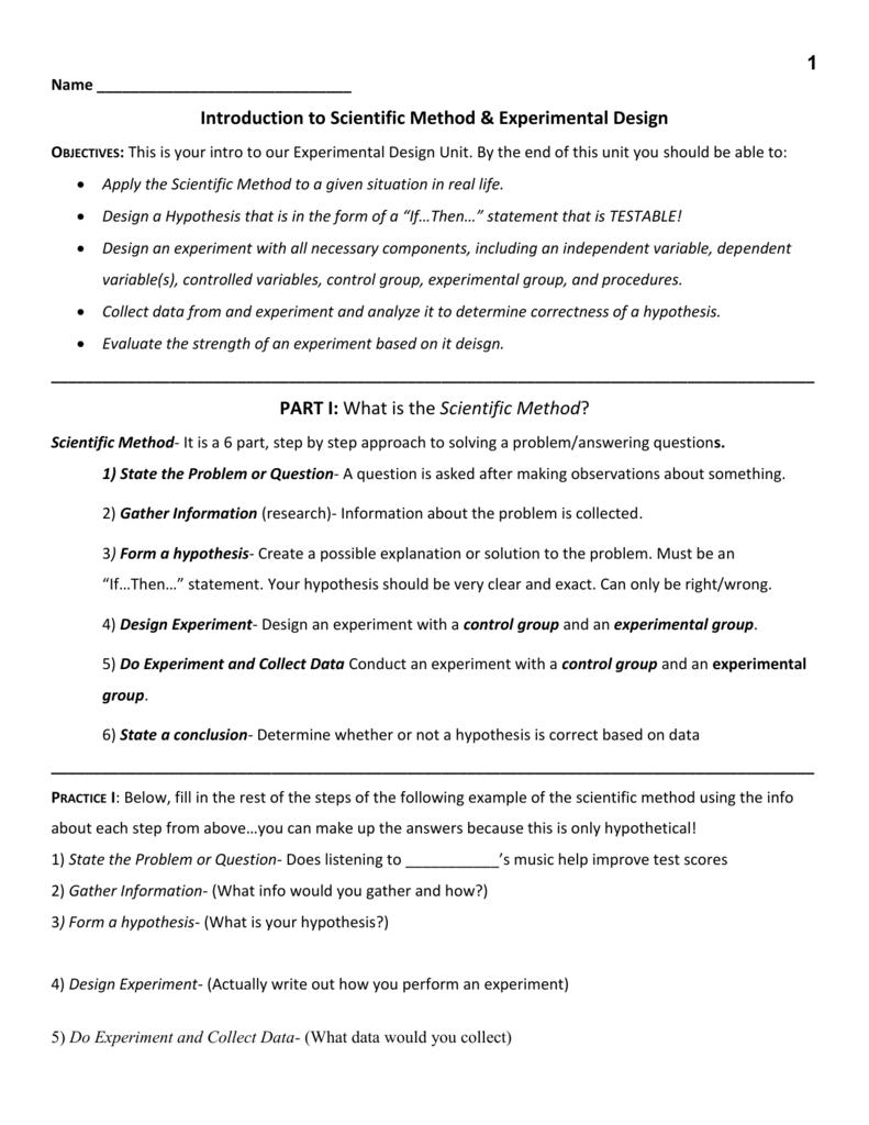 Experimental Design Worksheet Together With Experimental Design Worksheet Scientific Method