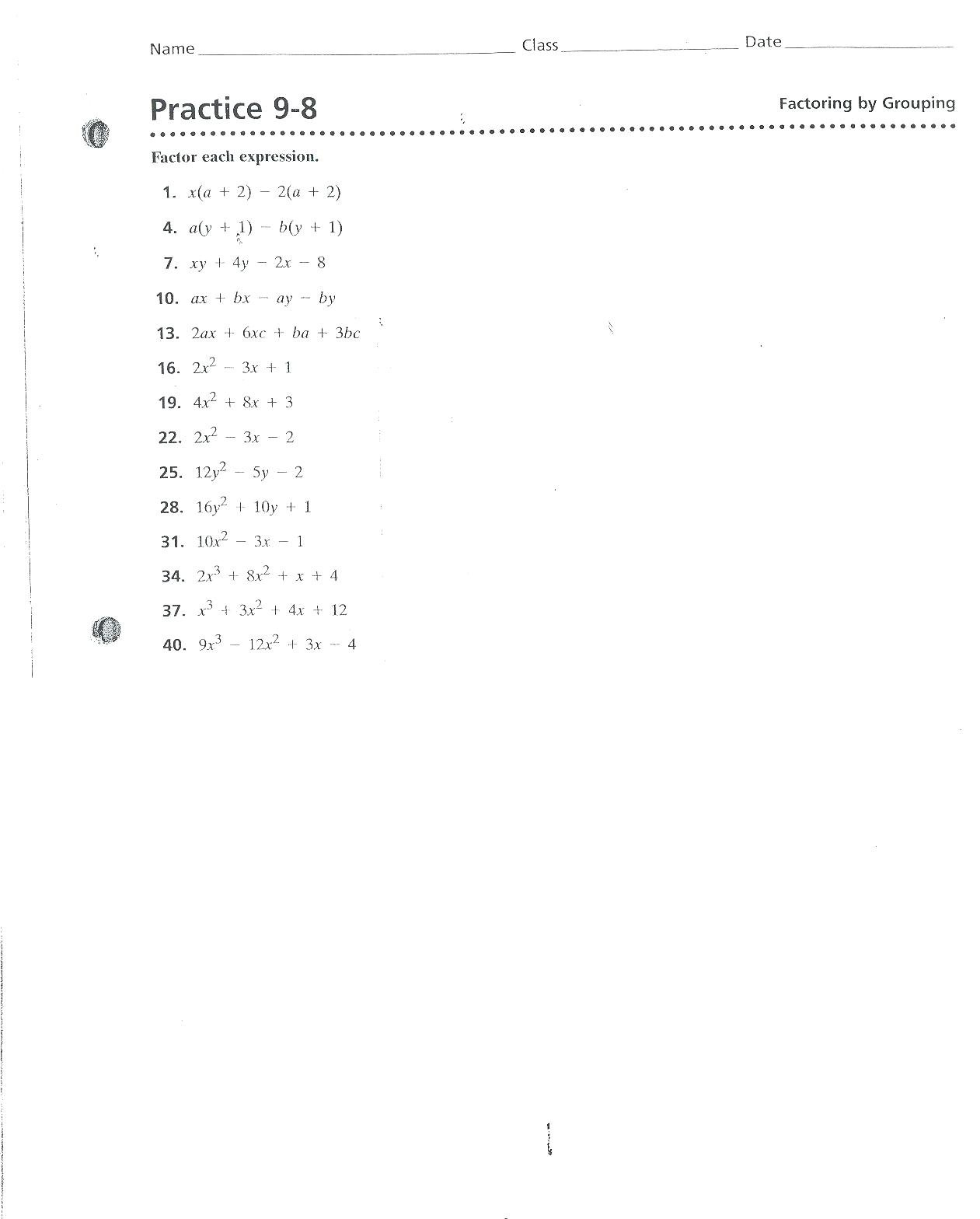 Factoringgrouping Worksheet With Factoring By Grouping Worksheet Algebra 2 Answers