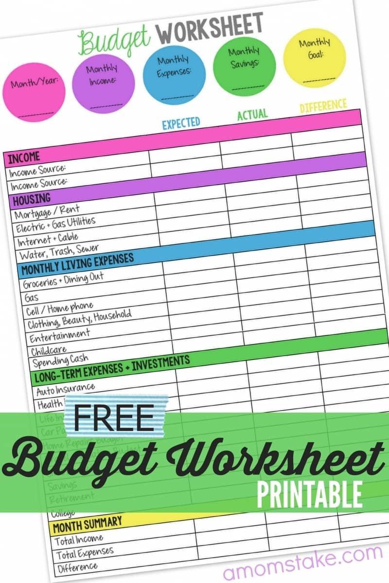 Family Budget Worksheet  A Mom's Take Intended For Family Finances Worksheet