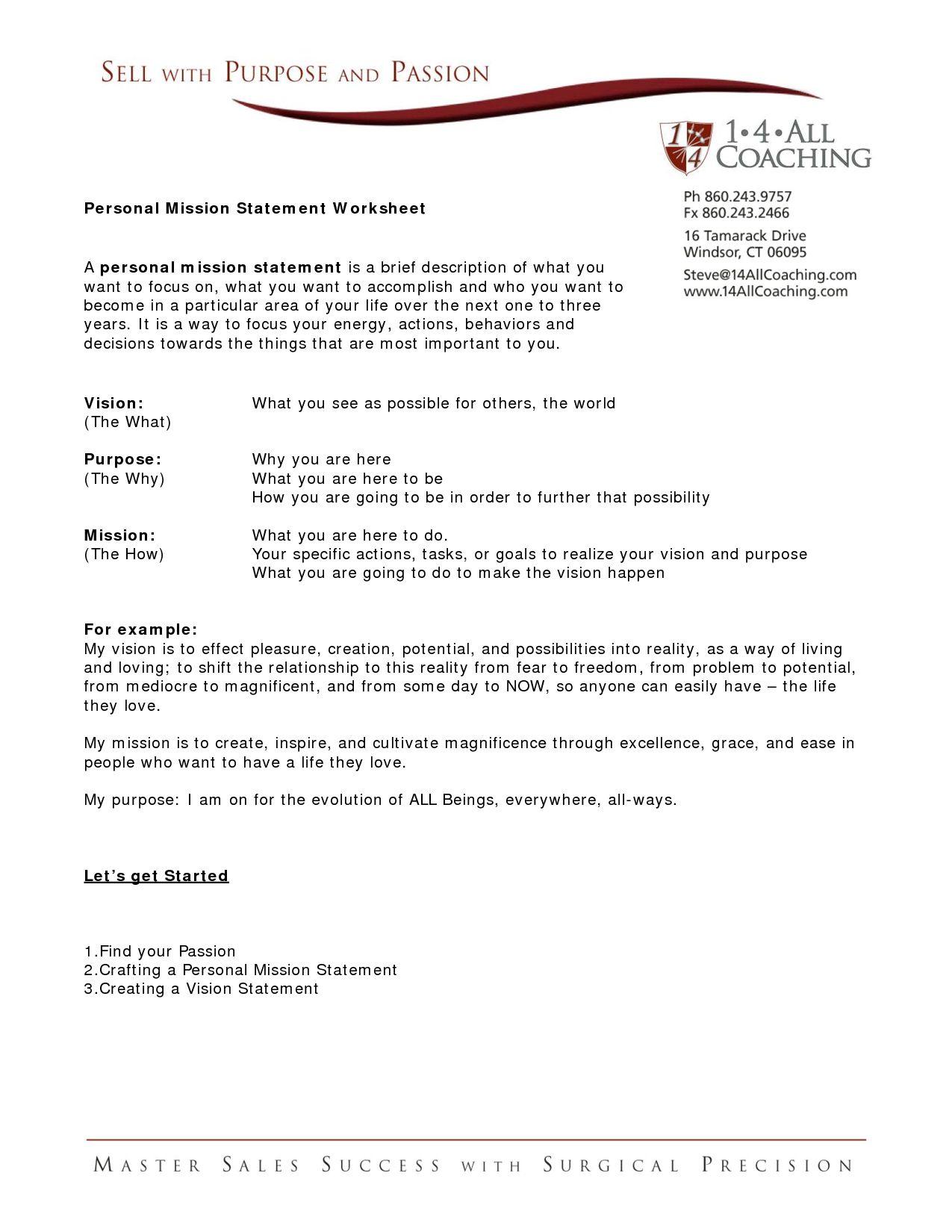 Family Mission Statement Worksheet  Briefencounters And Family Mission Statement Worksheet