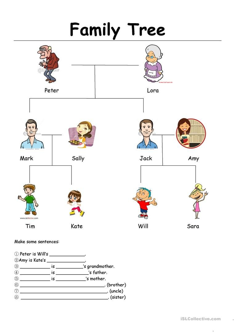 Family Tree Worksheet  Free Esl Printable Worksheets Madeteachers With Family Tree Worksheet Printable
