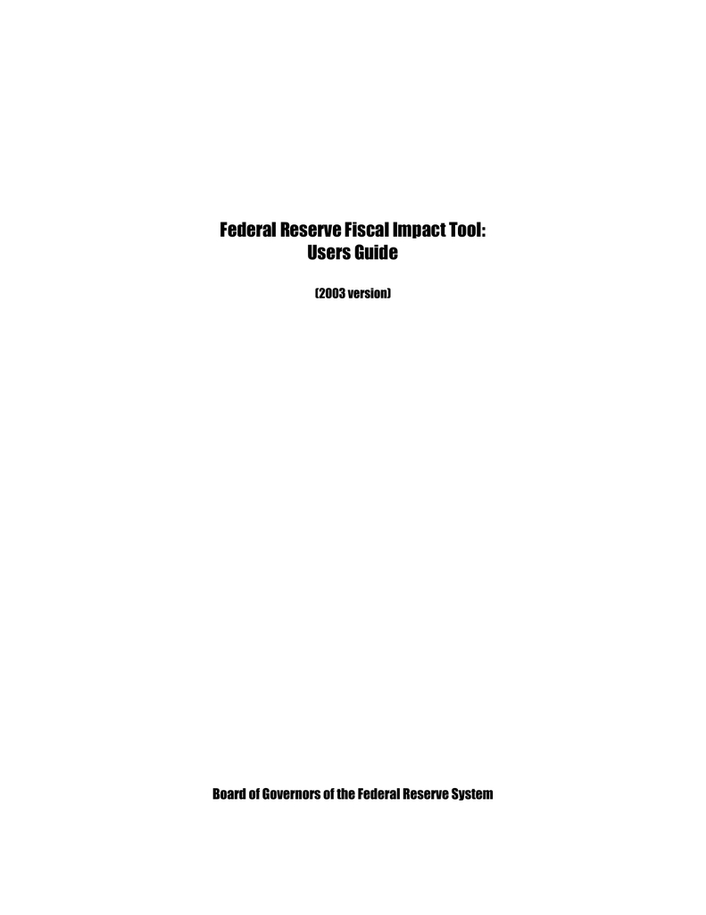 Federal Reserve Fiscal Impact Tool Users Guide Together With Tools Of The Federal Reserve Worksheet Answer Key