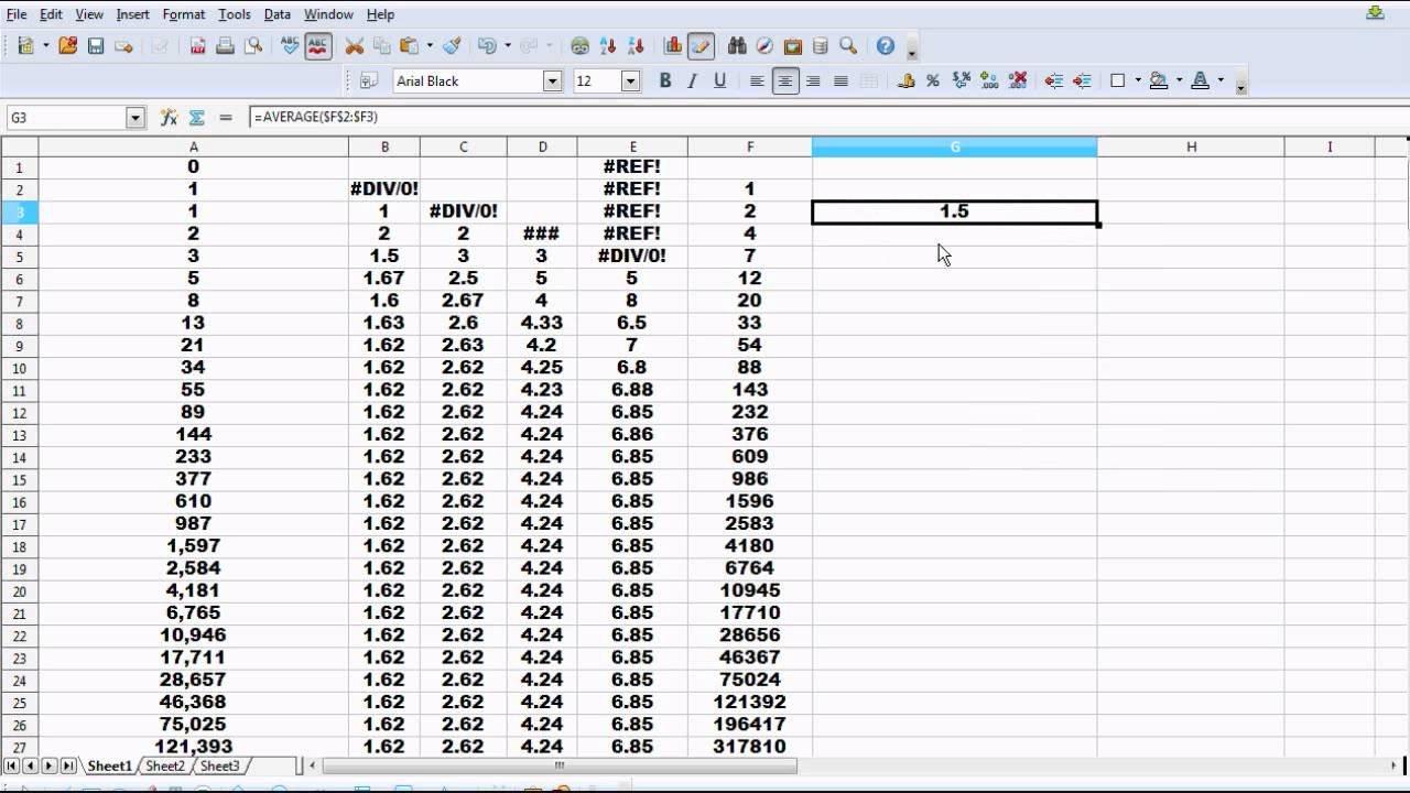 Fibonacci Sequence Spreadsheet And The 0.61803 Golden Ratio   Youtube Or Fibonacci Calculator Spreadsheet