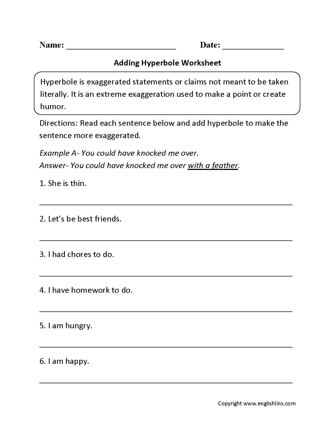 Figurative Language Worksheets  Hyperbole Worksheets Within Language Worksheets For 5Th Grade