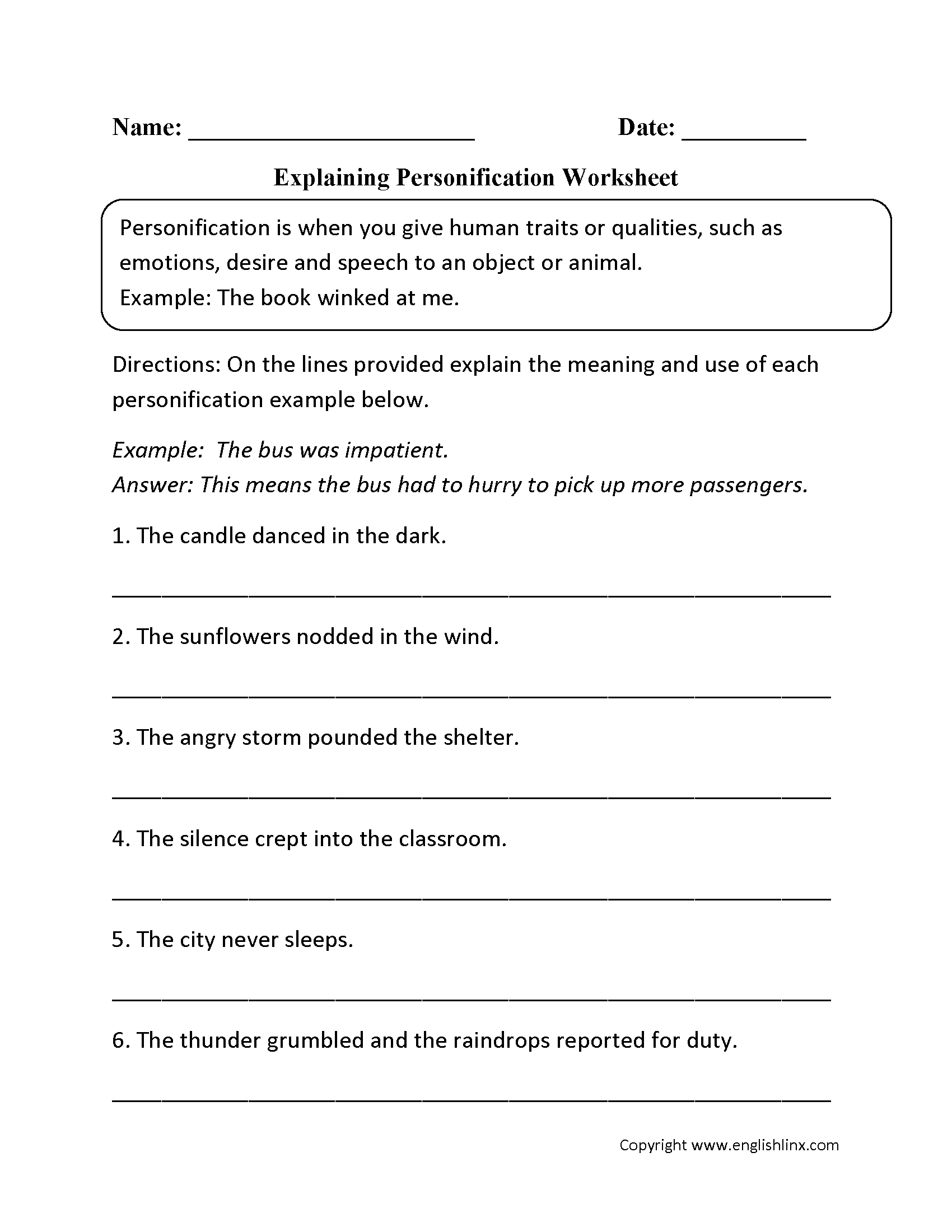 Figurative Language Worksheets  Personification Worksheets With Regard To Language Worksheets For 5Th Grade