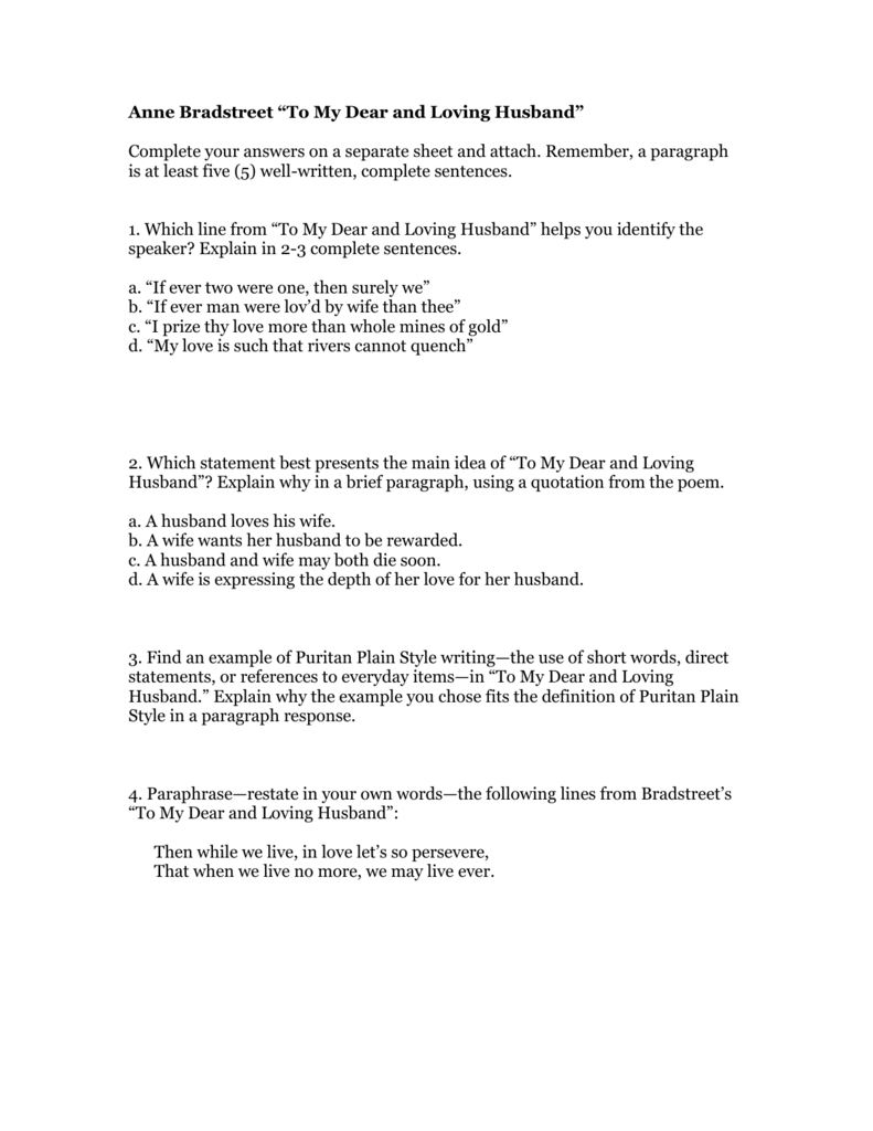 File And Anne Bradstreet Worksheet Answers
