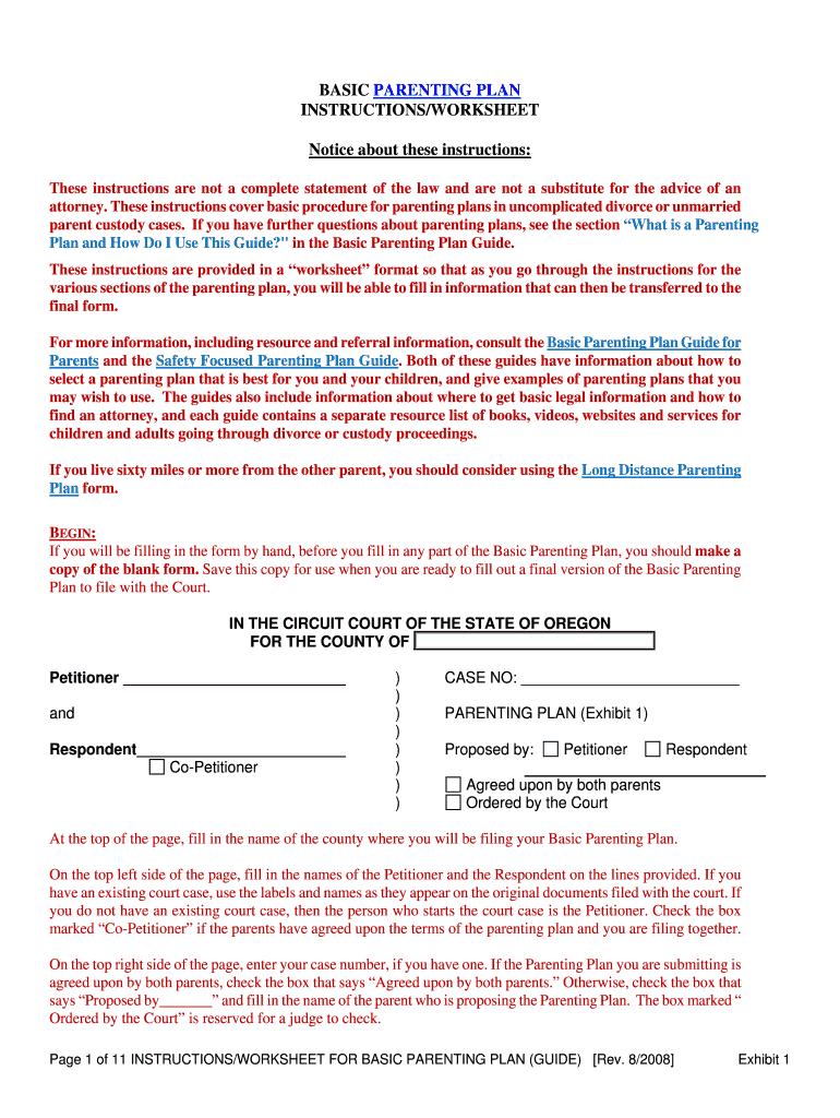 Fillable Online Courts Oregon Basic Parenting Plan Instructions In Parenting Plan Worksheet
