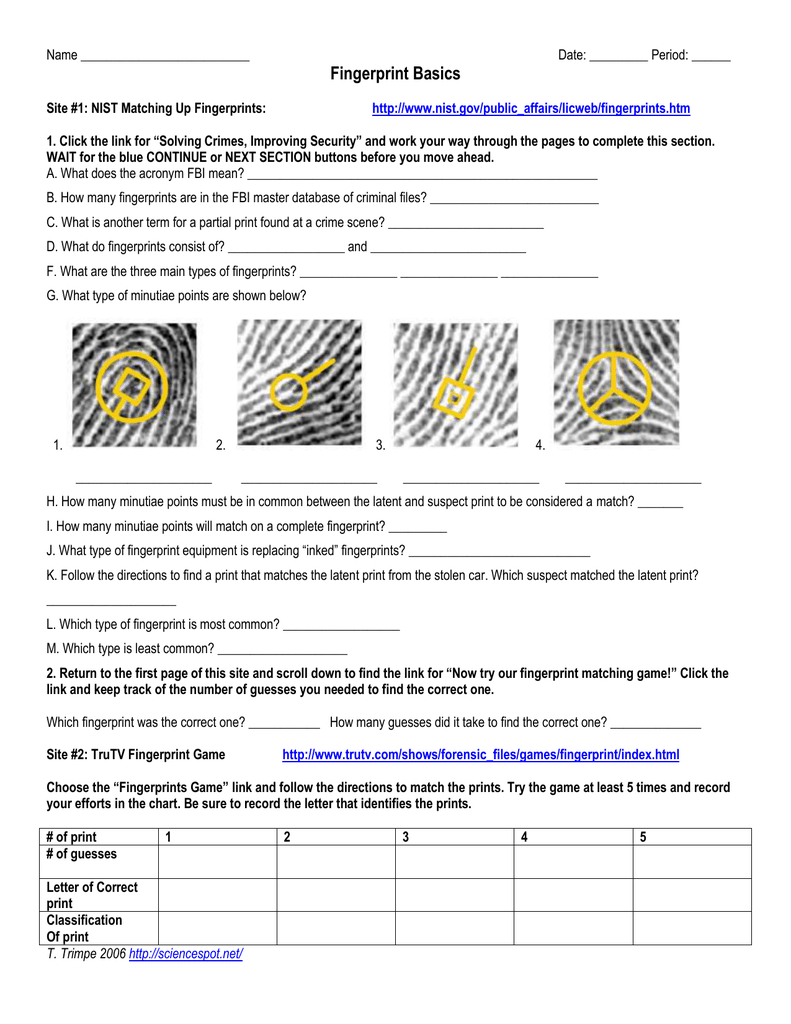 Fingerprint Basics Throughout Fingerprint Worksheet Answers
