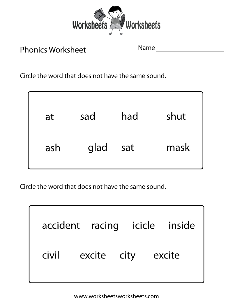 First Grade Phonics Worksheet  Free Printable Educational Worksheet Pertaining To Free Phonics Worksheets First Grade