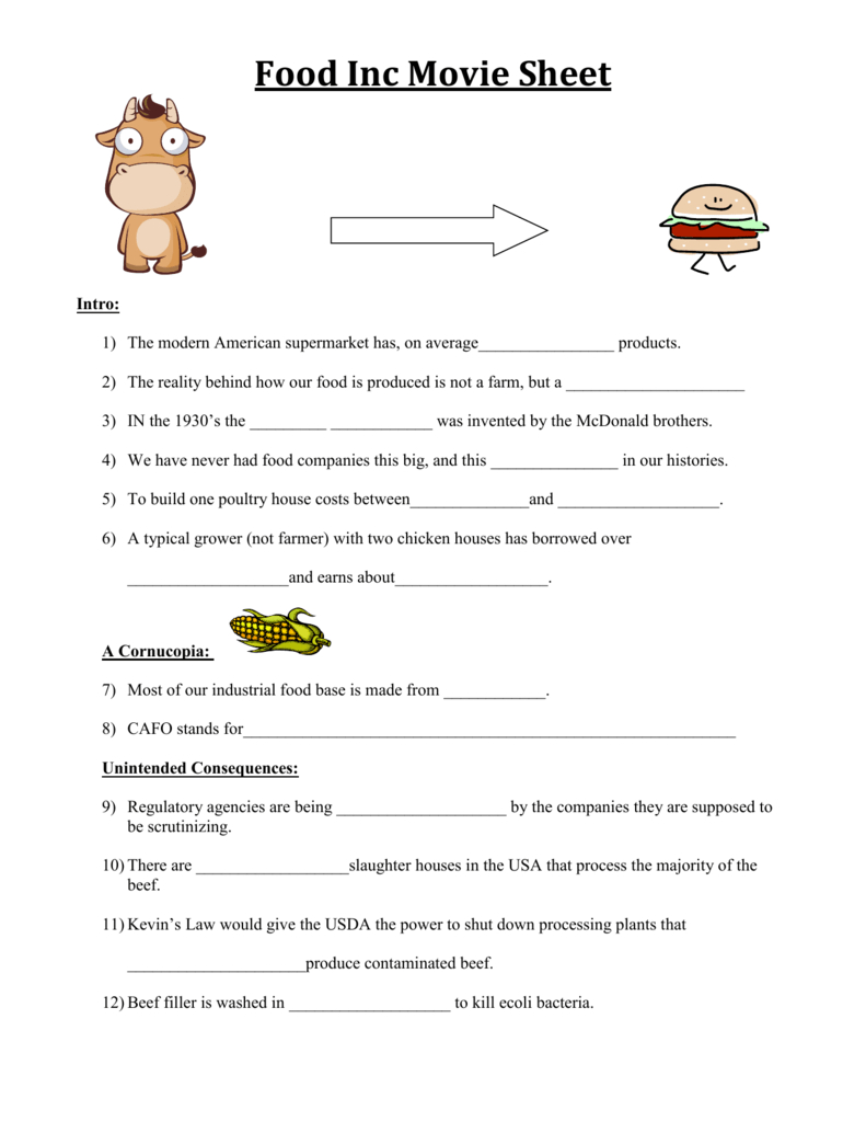 Food Inc Movie Sheet Together With Food Inc Movie Worksheet Answers