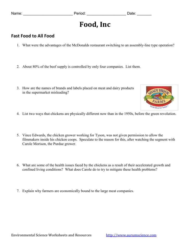 Food Inc  Video Worksheet In Food Inc Movie Worksheet Answers