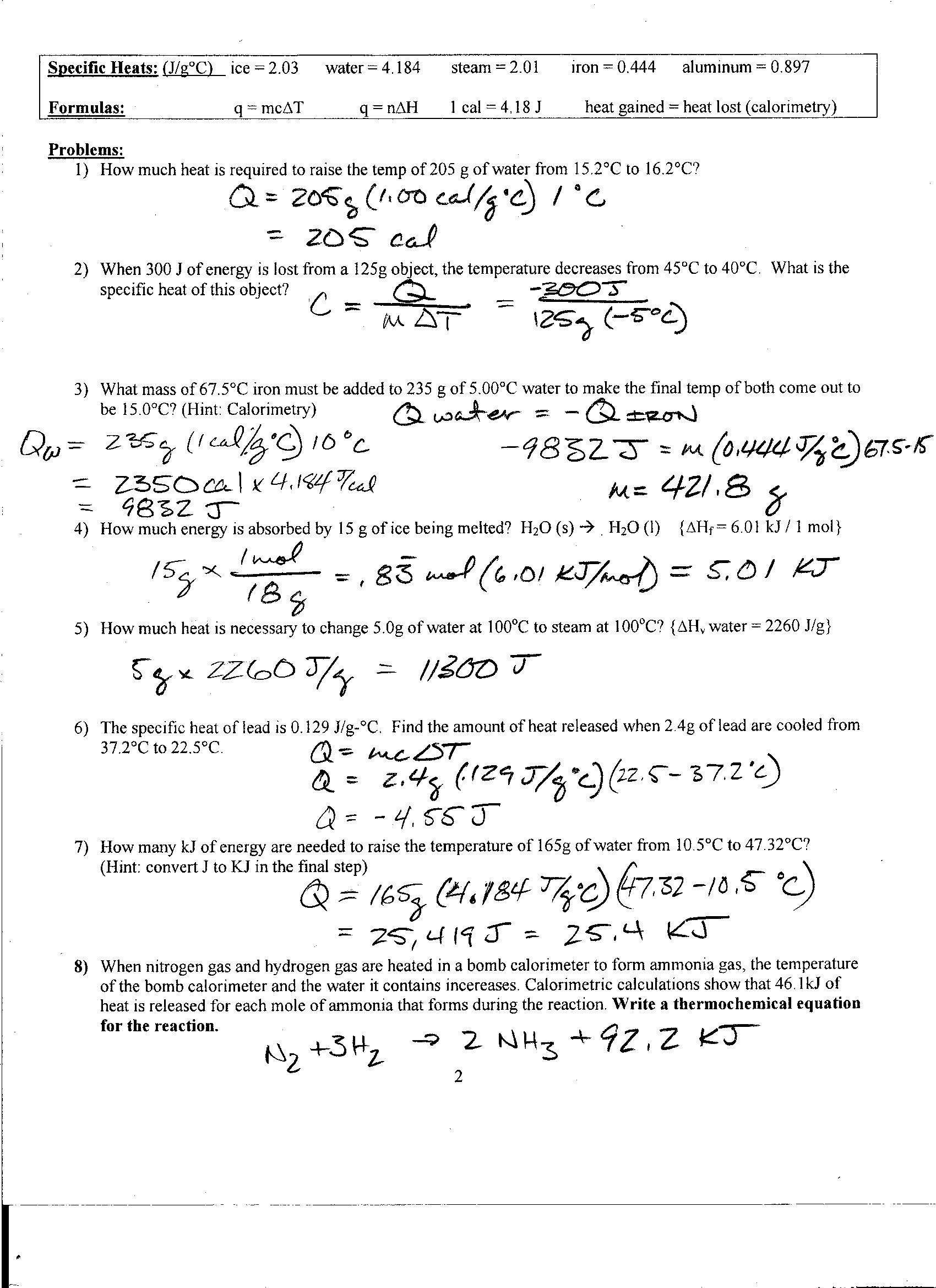 Foothill High School For Specific Heat Problems Worksheet Answers