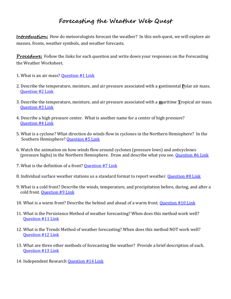 Forecasting The Weather Web Quest Or Forecasting Weather Map Worksheet 1 Answers