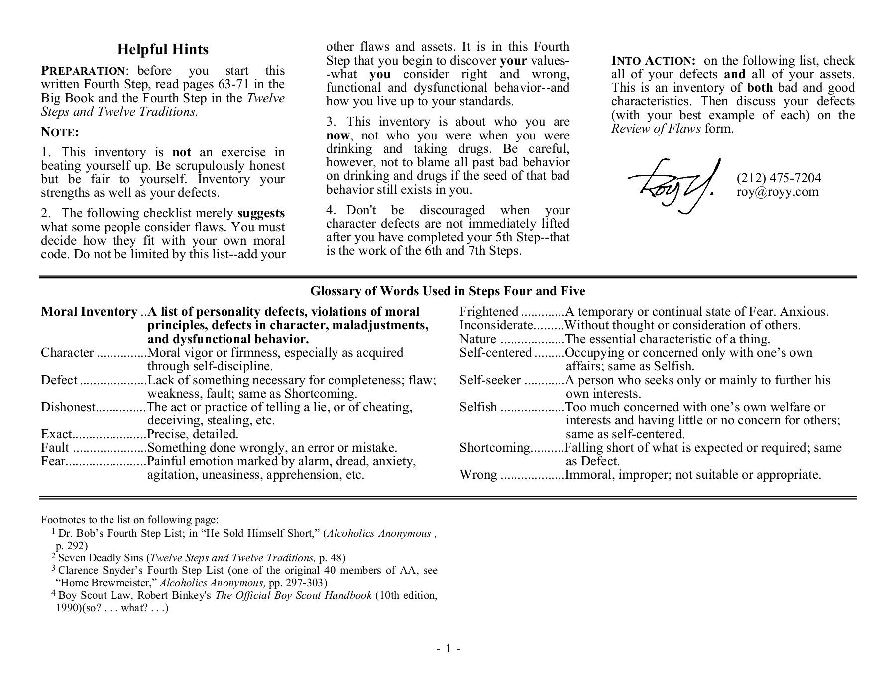 Fourth Step Invento Ry  12  Steps  Recovery Pages 1  15  Text Also Step 7 Aa Worksheet