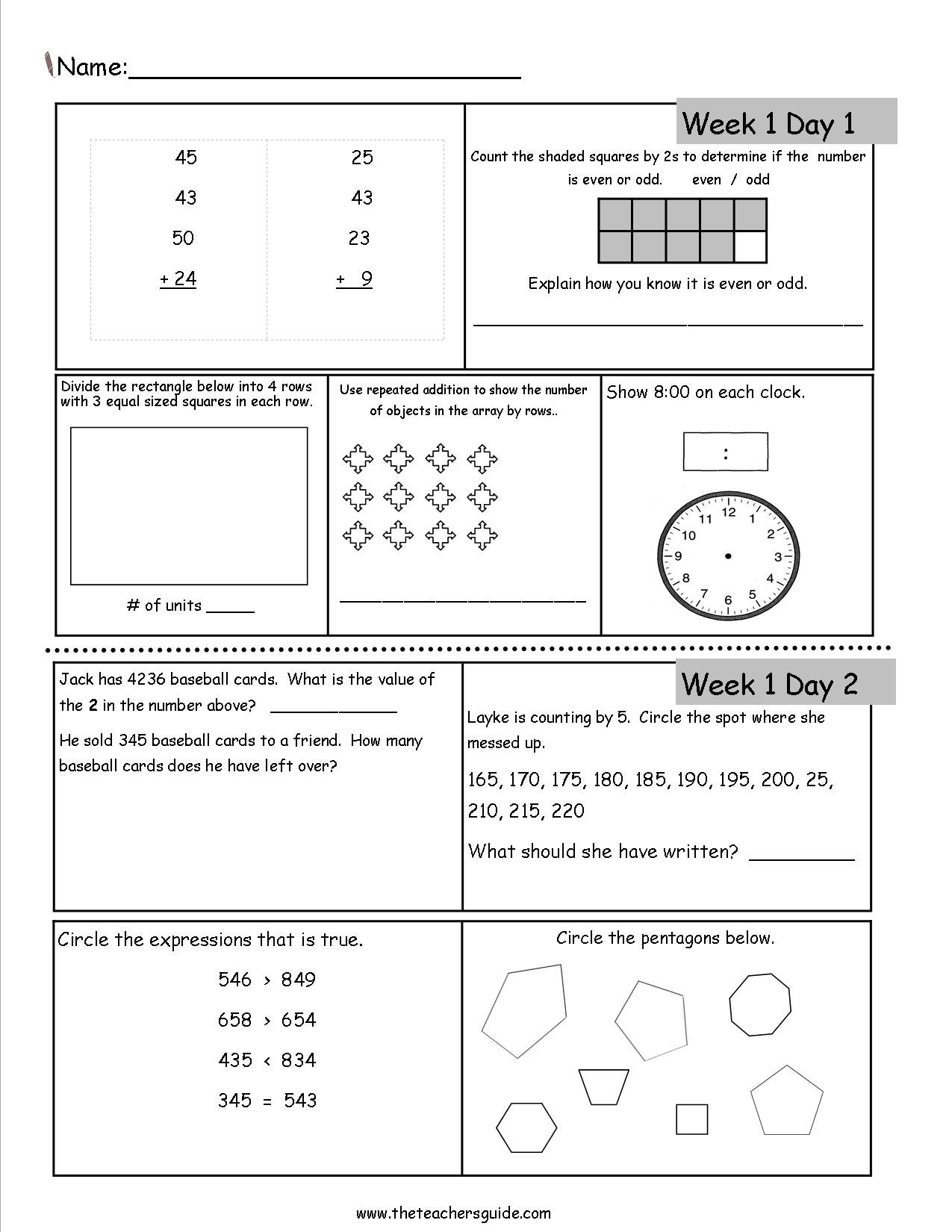 Free 3Rd Grade Daily Math Worksheets For 3Rd Grade Math Review Worksheets