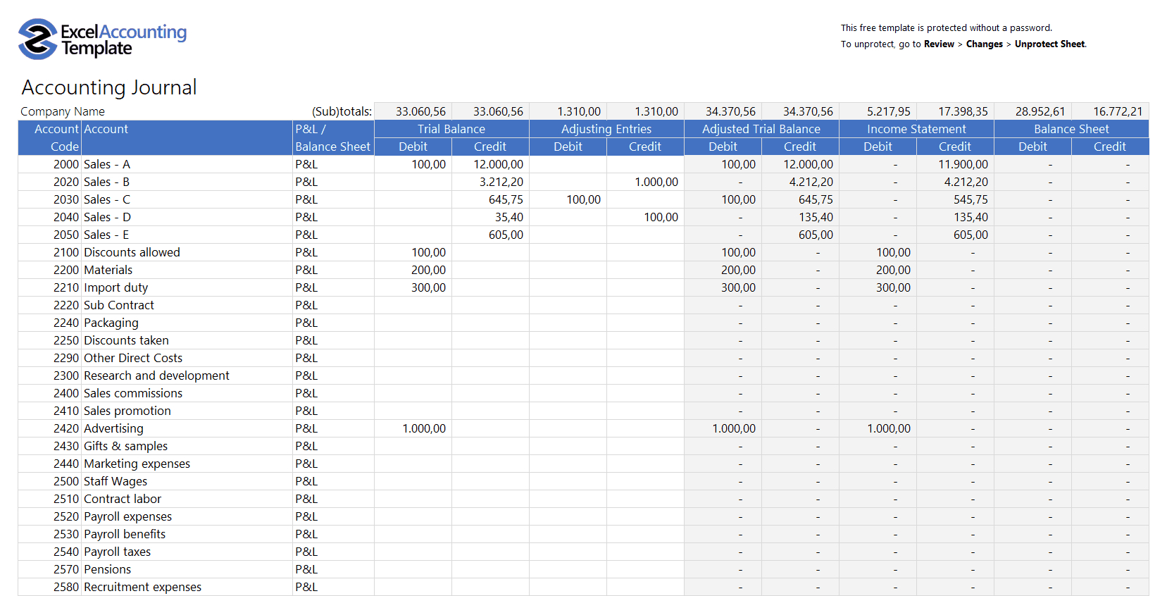 Free Accounting Templates In Excel   Download For Your Business For Accounting Spreadsheet Template