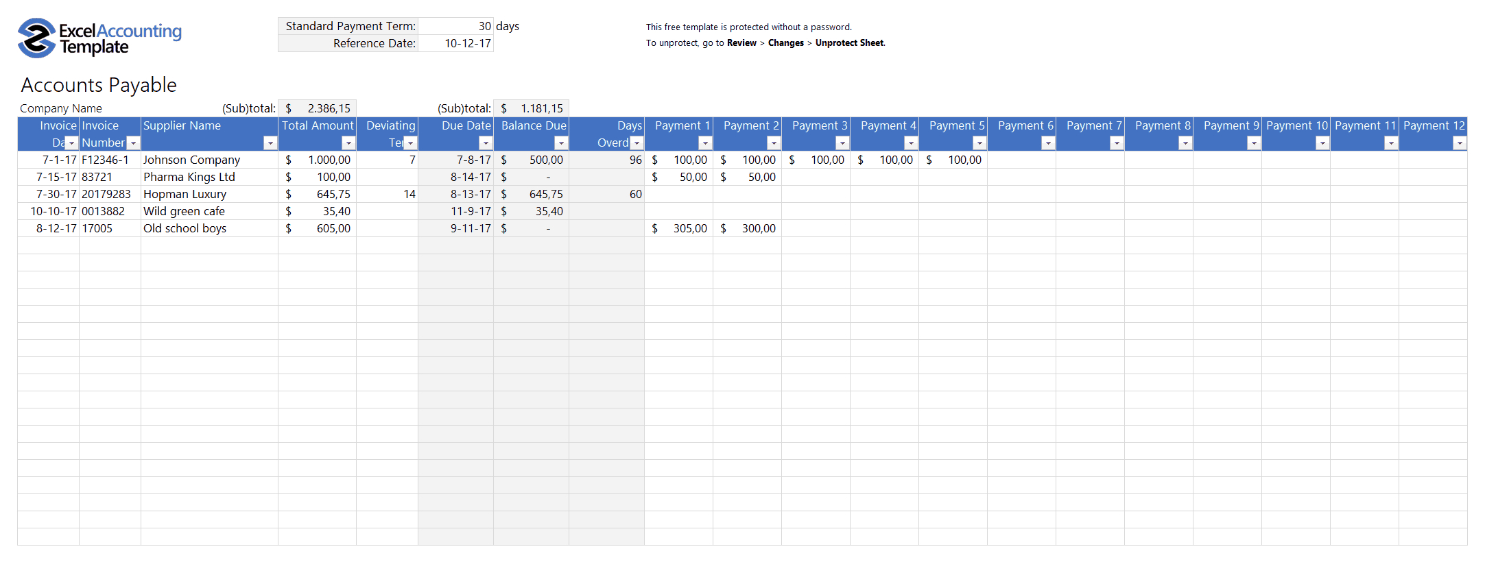 Free Accounting Templates In Excel   Download For Your Business Intended For Accounting Journal Template