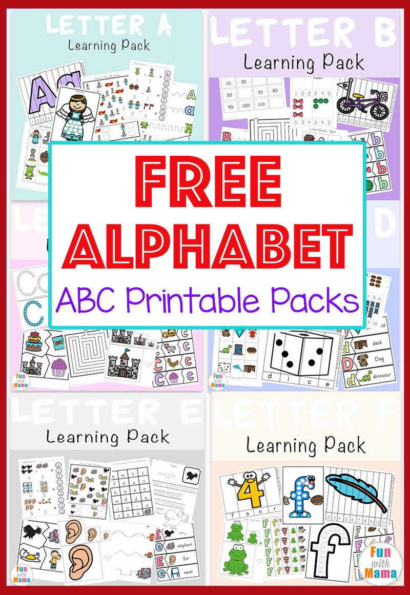 Free Alphabet Abc Printable Packs  Fun With Mama In Free Printable Abc Worksheets