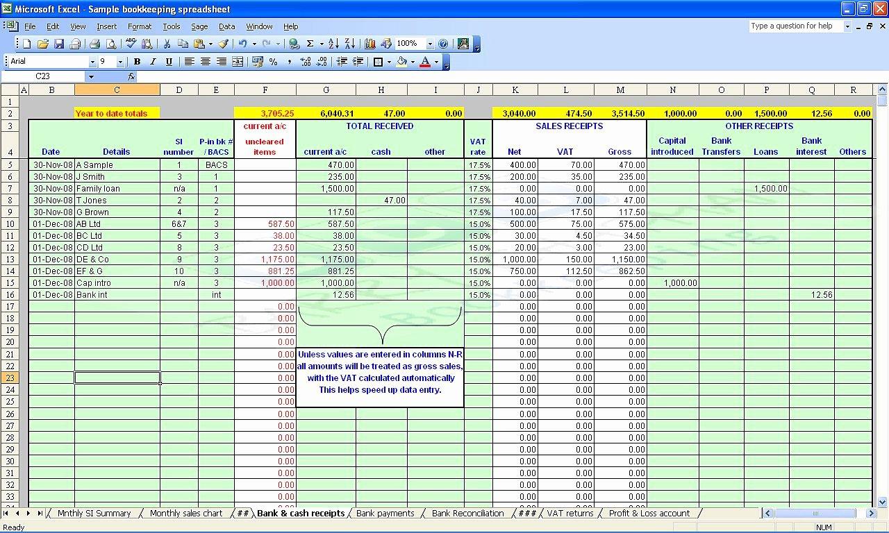 Free Bookkeeping Spreadsheet Download – Ebnefsi.eu For Free Bookkeeping Spreadsheet