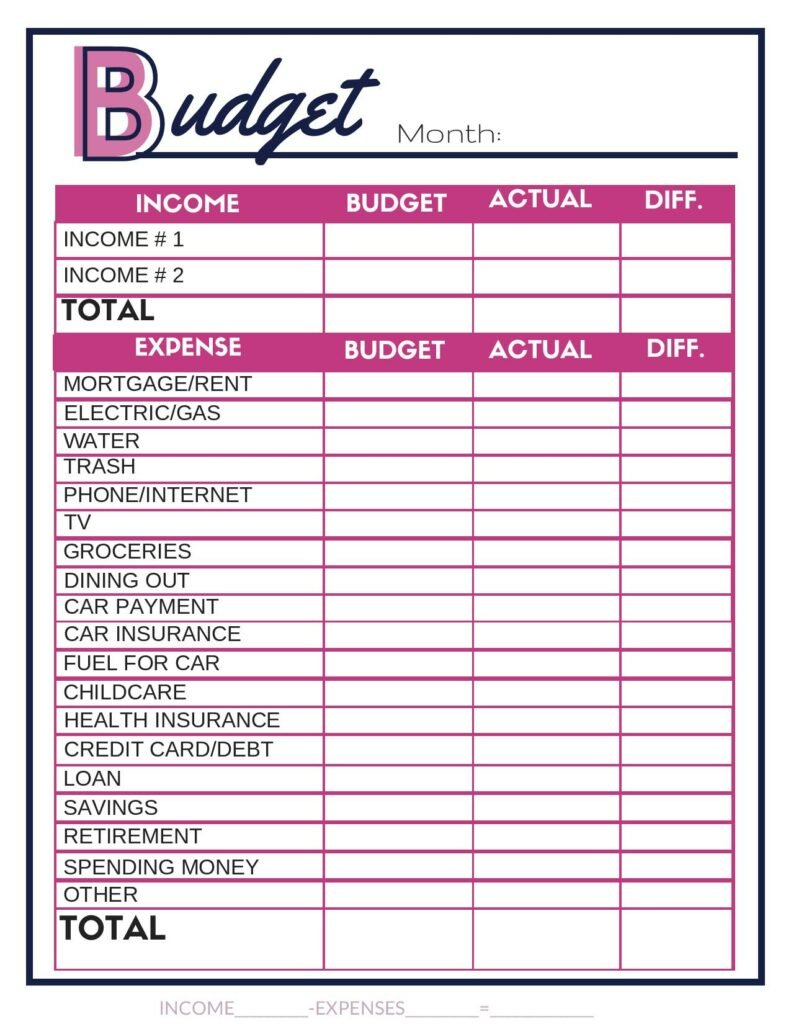Free Budget Worksheets  Single Moms Income With Regard To Downloadable Budget Worksheets