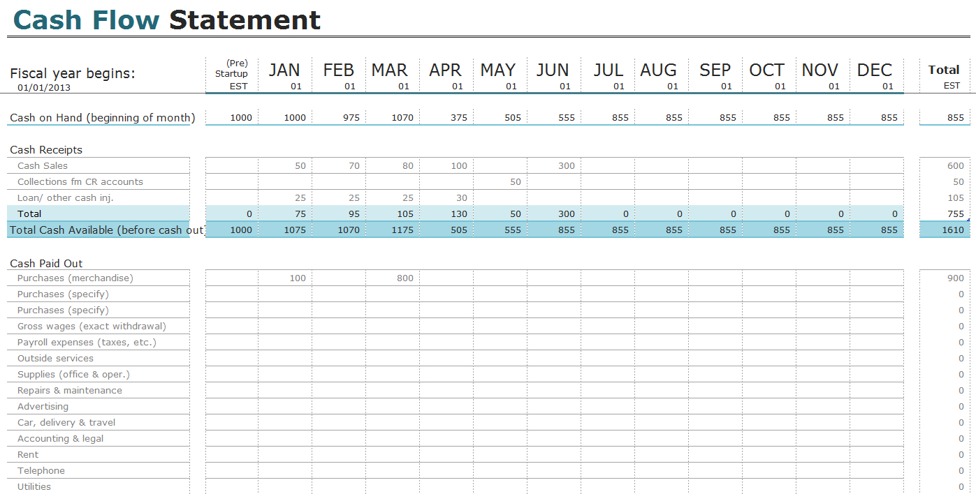Free Cash Flow Statement Templates For Excel | Invoiceberry Throughout Excel Cash Flow Template