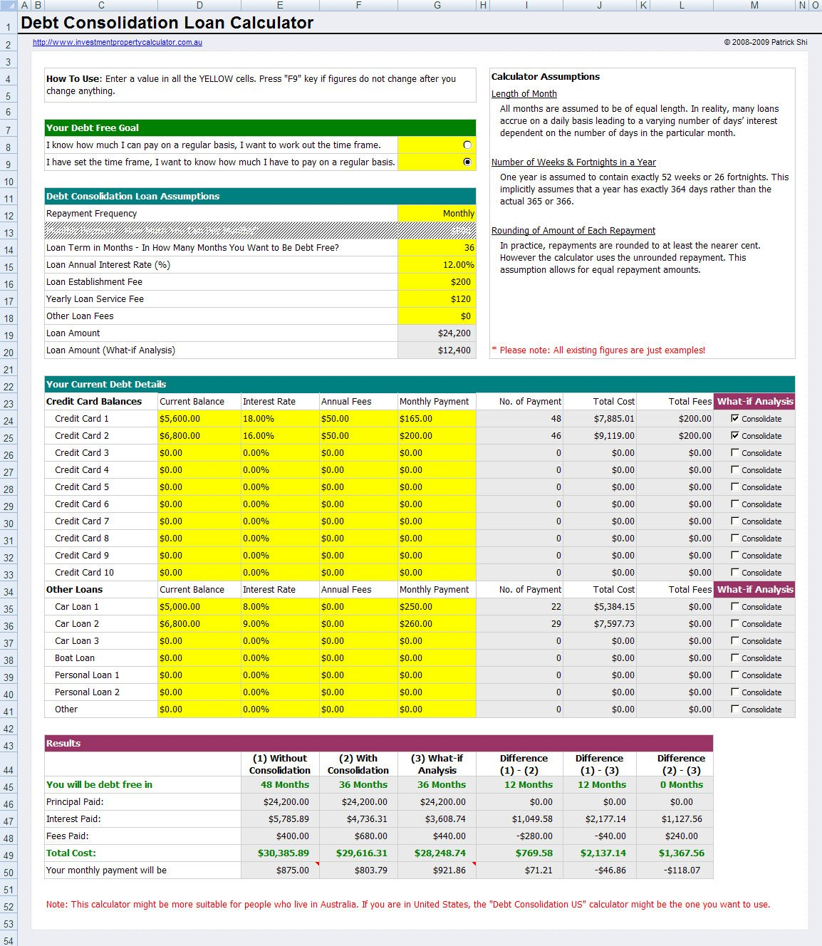 Free Credit Card Debt Consolidation Loan Calculator Throughout Debt Consolidation Excel Spreadsheet