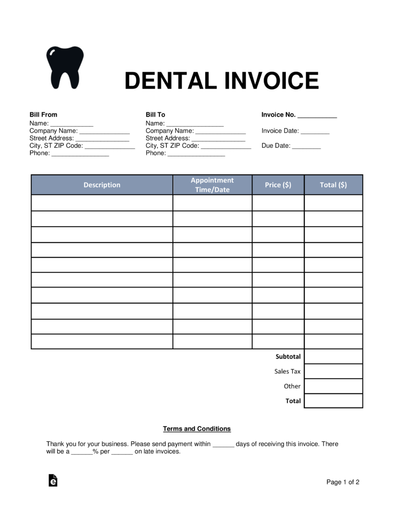 Free Dental Invoice Template   Word | Pdf | Eforms – Free Fillable Forms Also Dental Invoice