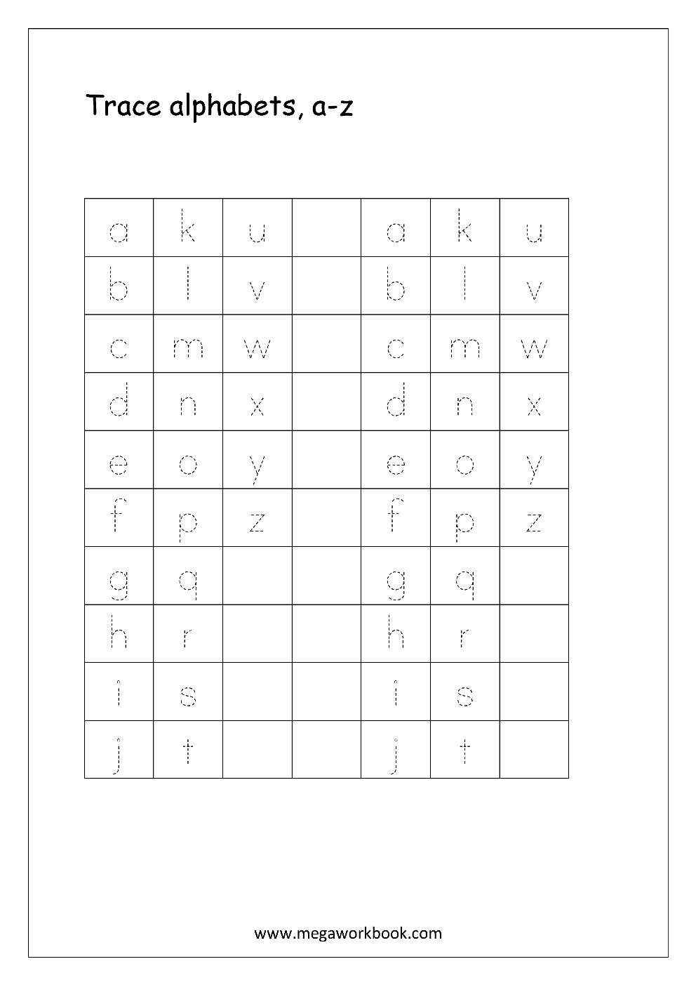 Free English Worksheets  Alphabet Tracing Small Letters  Letter Intended For Alphabet Tracing Worksheets For 3 Year Olds