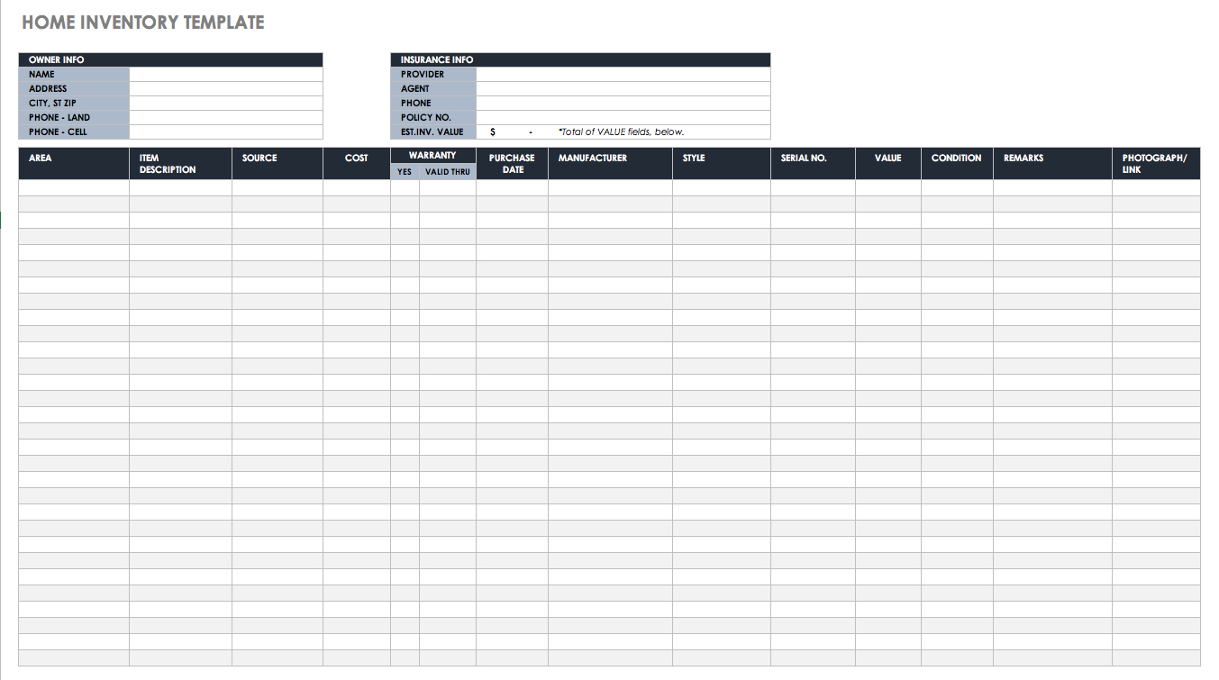 Free Excel Inventory Templates: Create & Manage | Smartsheet With Basic Inventory Spreadsheet Template
