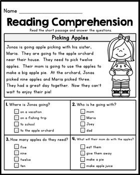 Free First Grade Reading Comprehension Passages  Set 1Kaitlynn For Free 1St Grade Comprehension Worksheets