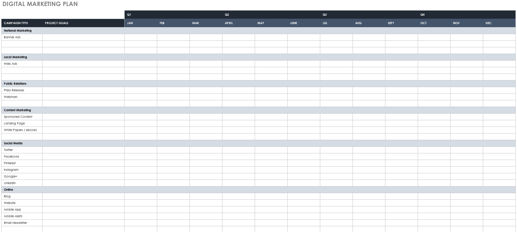 Free Marketing Plan Templates For Excel | Smartsheet As Well As Marketing Spreadsheet Template