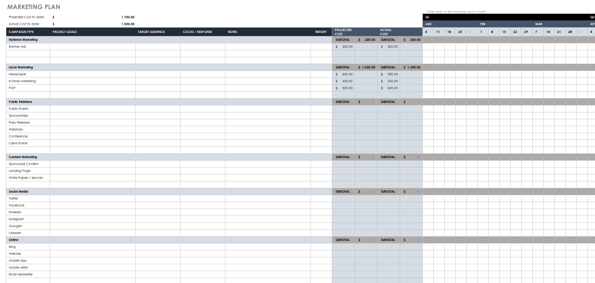 Free Marketing Plan Templates For Excel | Smartsheet Together With Marketing Spreadsheet Template