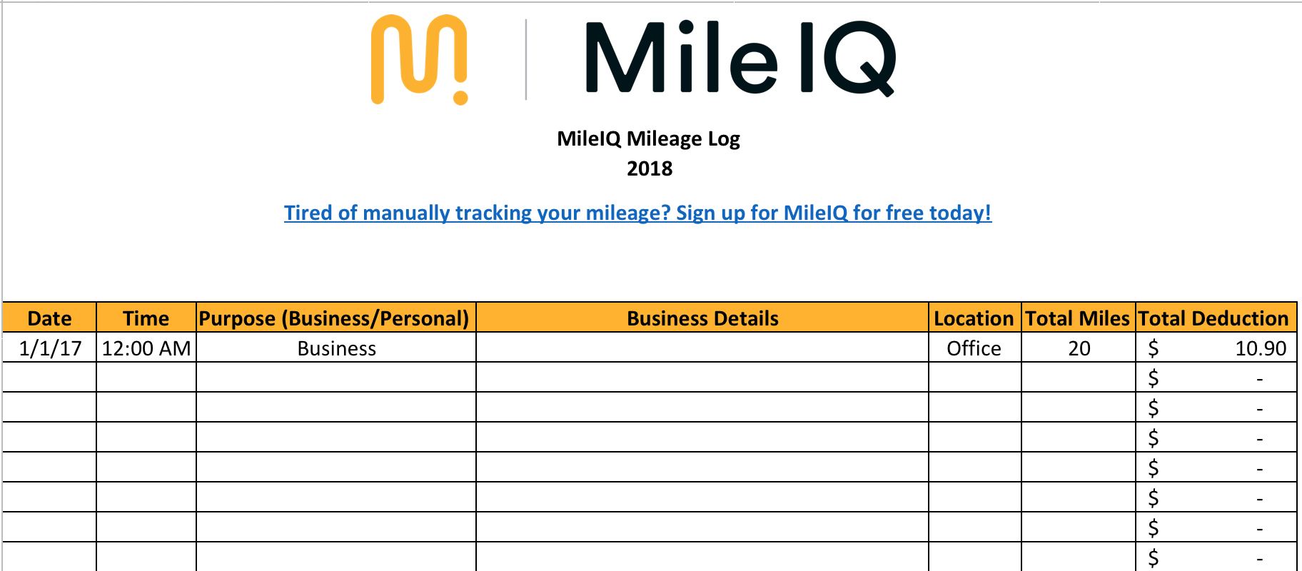 Free Mileage Log Template For Excel  Track Your Miles Together With Auto Expense Worksheet 2019
