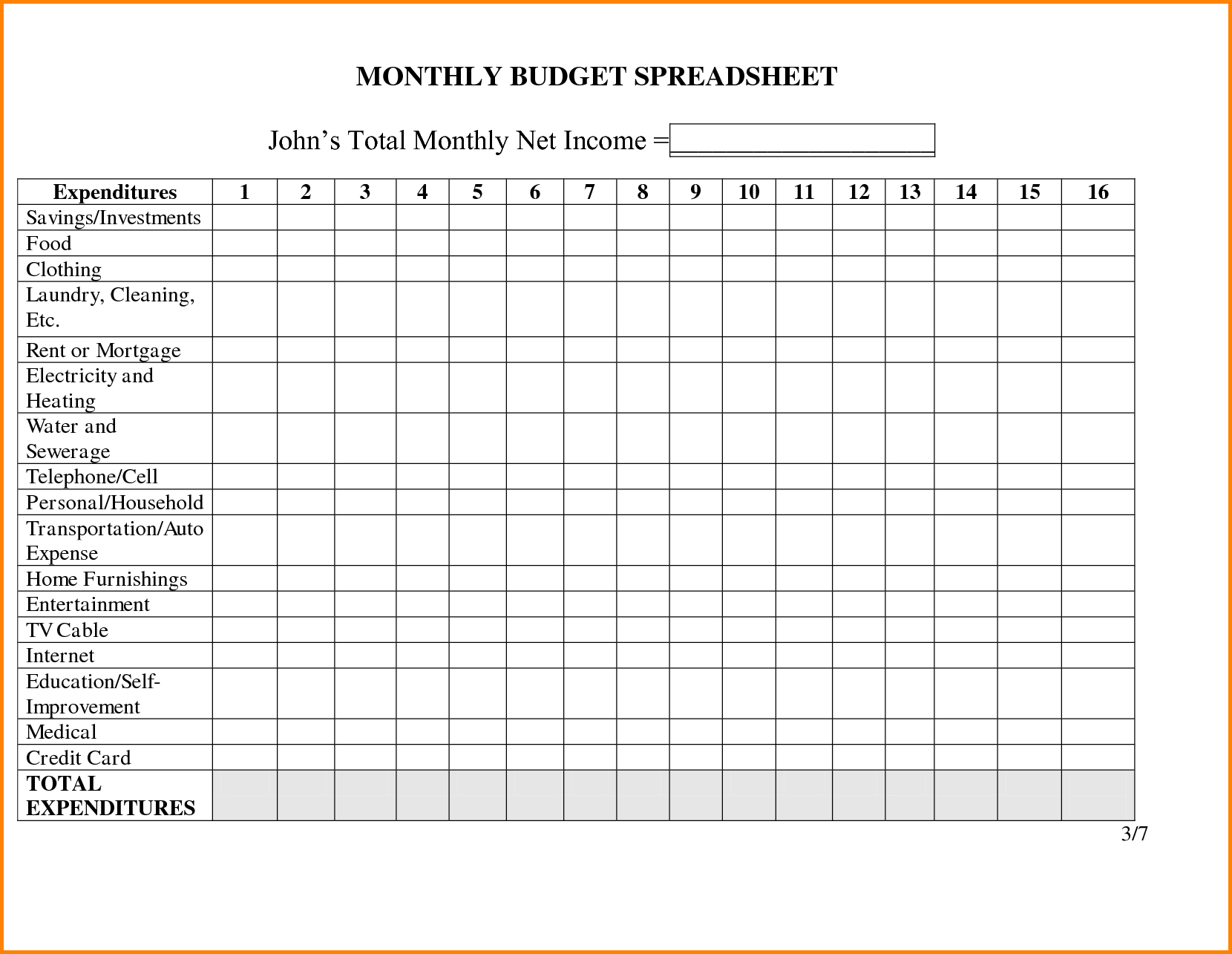 Free Monthly Expense Budget Template For Excel Spreadsheet  Violeet Intended For Free Monthly Expenses Worksheet