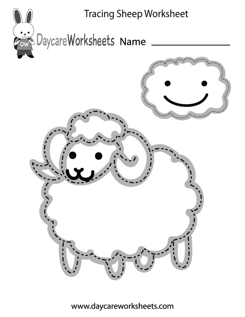 Free Preschool Tracing Sheep Worksheet Pertaining To Preschool Tracing Worksheets