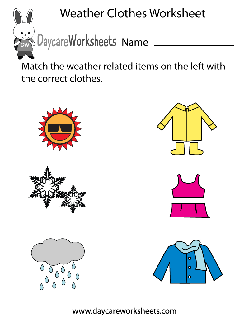 Free Preschool Weather Clothes Worksheet For Weather Worksheets Pdf