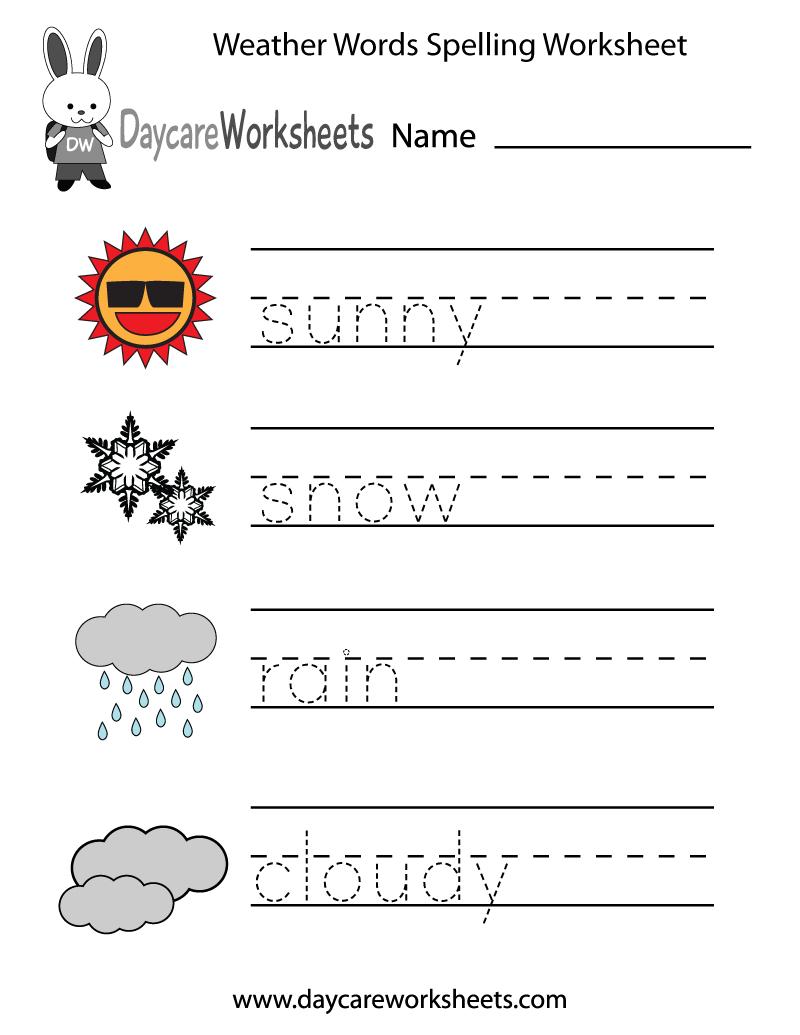 Free Preschool Weather Words Spelling Worksheet Or Weather Worksheets Pdf